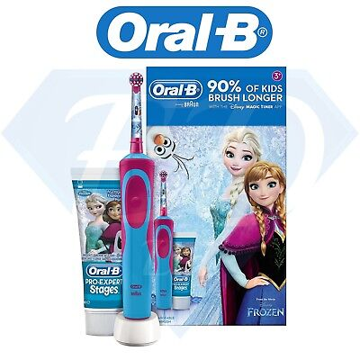 Oral B Frozen Rechargeable Electric Toothbrush Toothpaste Kids Dental Gift Set