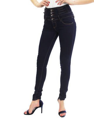 Girls Women's Ladies High Waisted Skinny Slim Fit Jeans Stretch Denim Jeggings