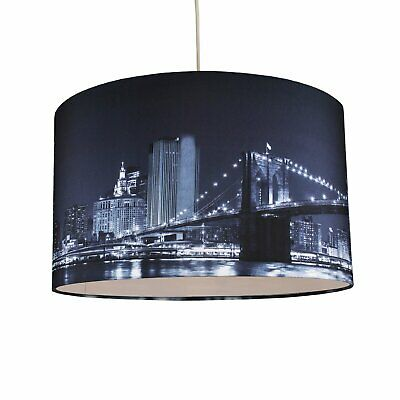 40cm Large Lamp Shade Ceiling Light Digital Printed Fabric New York Skyline