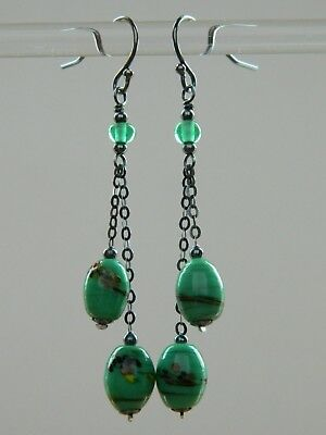 Art Deco MURANO Green Oval End of Day Glass Beads & Oxidised 925 Silver Earrings