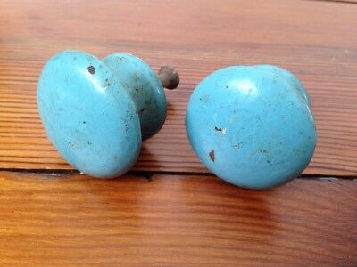 Pair Set Lot Vtg Duck Egg Blue Painted Turquoise Antique Wood Knobs Drawer Pulls