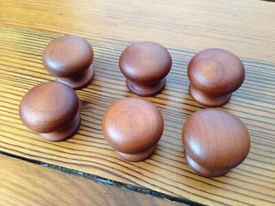 NEW Lot of 6 Ethan Allen Domed Round Wood Knobs Cabinet Drawer Pulls 2.5cm