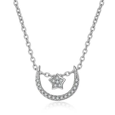 Crescent Moon and Star Pendant plating Silver Jewelry Rhinestone Necklace Gift