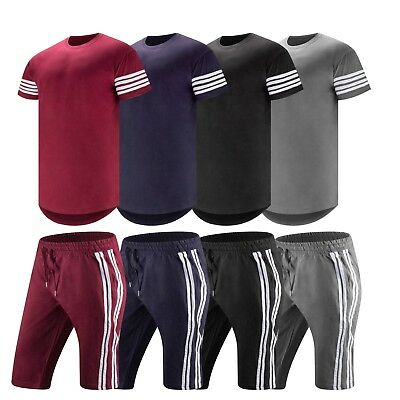 New Men Track Suit T-Shirt Shorts Track Set Sweat Suit Drawstrings Heavy Weight