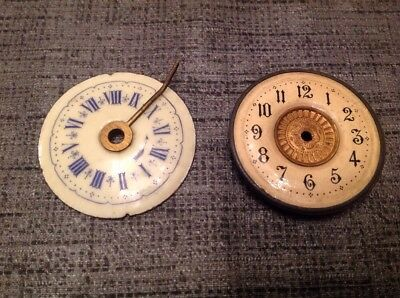 Antique Clock Dials One Porcelain Both Approx 55Mm