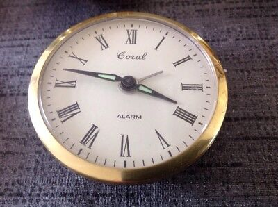 Vintage Coral Mechanical Clock Movememt Wound & Working 62mm Diameter 23mm Deep