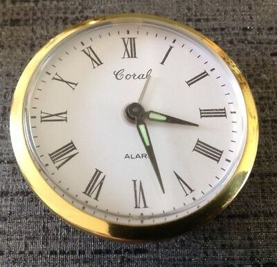 Vintage Coral Mechanical Alarm Clock Movememt Wound Working 62mm Diam. 23mm Deep