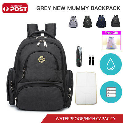 Waterproof Mummy Baby Backpack Diaper Nappy Changing Bag With Pram Clips AU