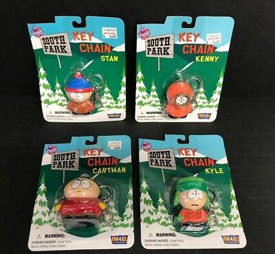Set of 4 ~ SOUTH PARK Comedy Central Key Chains Stan Kenny Kyle Cartman