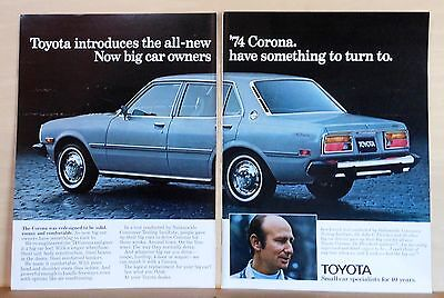 1974 two page magazine ad for Toyota - 1974 Corona, Dr. John Fletcher buys one