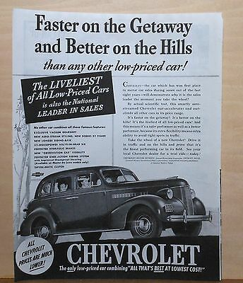 1939 magazine ad for Chevrolet - Faster on the Getaway, Better on the Hills