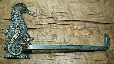 Cast Iron Antique Style Seahorse Toilet Paper Holder or Towel Bar Nautical Decor