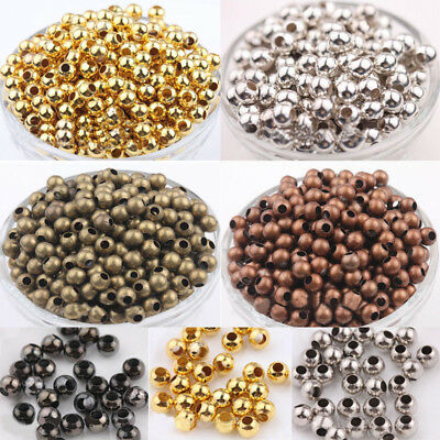 Metal Round Ball Spacer Bead Jewellery Findings Gold Silver 2.4/3/4/5/6/8mm