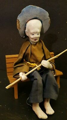 Antique Chinese Clay Fisherman Doll Figurine Statue.. Original Silk Clothing