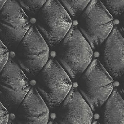 Arthouse Desire Black Leather Headboard Faux Quilted Button Wallpaper 618100 New
