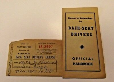 BOOKLET, INSTRUCTIONS FOR BACK SEAT DRIVERS & license ace supply St Louis