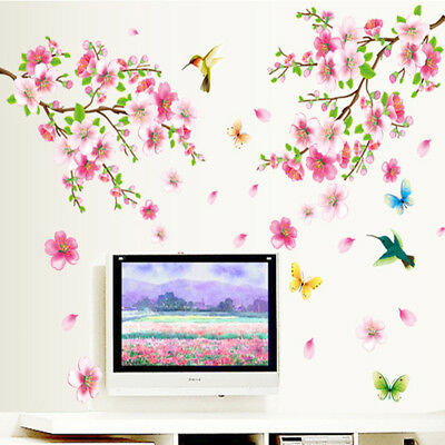 Pink Flowers Wall Decals Baby Nursery Kids Bedroom Stickers Art Decoration