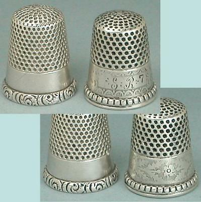2 Antique American Sterling Silver Thimbles * Circa 1890-1900