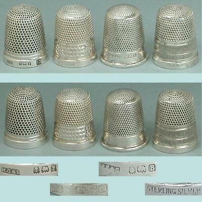 4 Vintage English Sterling Silver Thimbles * Hallmarked 1912-1930