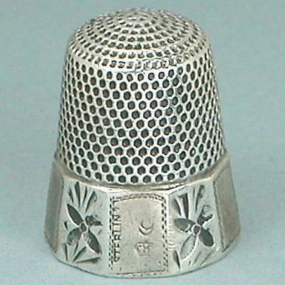 Antique Sterling Silver Bee Band Thimble by H. Muhr's Sons * Circa 1890s