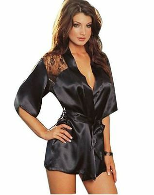 Sexy Lingerie Satin Lace Black Kimono Robe Night Gown and Thong