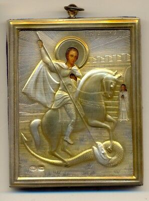 Antique Russian Icon Sterling Silver Gold Plated St. George   (2310bc)