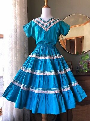 50s Dress Western Wear 1950s Vintage Turquoise Blue Fit Flare Full Circle Skirt