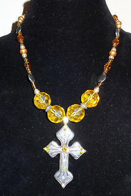 Vintage 1980's Style Silver Cross with Yellow Bead Necklace Pendent