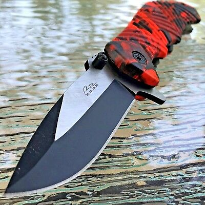 "7.25"" AC FORCE EDC RED CAMO SPRING ASSISTED TACTICAL POCKET KNIFE Open Assist"