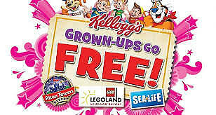 2 for 1 Grown ups go free Voucher Legoland, Chessington, Thorpe, Alton, Sealife