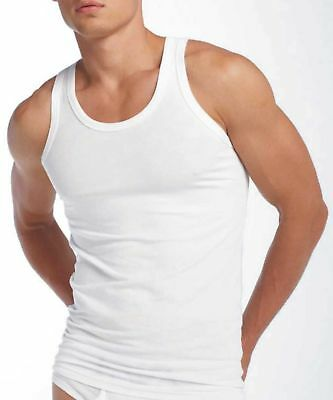 3 X Mens White Vests Fitted 100% Cotton Gym Training Tank Top New Top