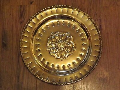 Antique Arts & Crafts Brass Hand Made Tudor Rose Plate / Charger c.1900
