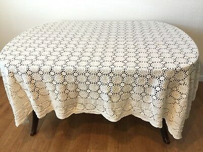 Crocheted Tablecloth Oblong Vintage 80 x 60 Medallions Off White Scalloped Edge