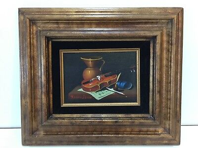 Frank Lean Original Oil Painting on Canvas Still Life, Signed, Framed