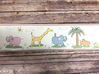 York Wallpaper Decorative Border Baby Nursery Animal Safari Jungle 5 yards New
