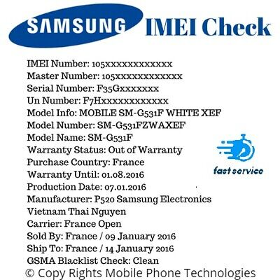 Instant Fast Samsung Imei Check Network Carrier Model Icloud Blacklist