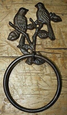 Cast Iron Antique Style BLUEBIRD Door Knocker TOWEL RING Holder Bird