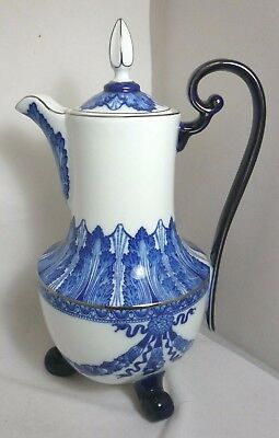 Bombay #BMA4 Cobalt Blue & White Tall Coffee or Chocolate Footed Pot w/ Platinum