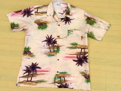 Vintage 1970s Mens SUNCHASER Hawaiian Shirt, Made in Australia, Sz L Chest 100cm