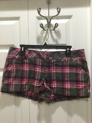 So Shortie Shorts. Pink/Grey plaid. Size 13. NWOT