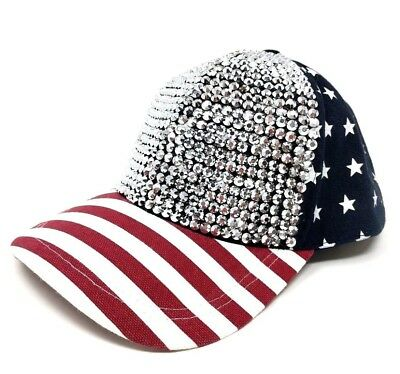 cdb9997c4da 4th of July Red White Blue Patriotic Stars   Stripes Bling Snapback Cap Hat  NWT