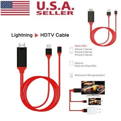 US 1080p 8Pin Lightning to HDMI HDTV AV TV Adapter Cable Cord For iPhone 5 6 7 8