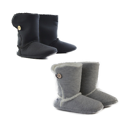 GROSBY SHERPA HOODIES Button Boots Black / Grey Warm Slippers - Size S M L XL