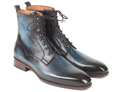 fbffc19ad26 Paul Parkman Handmade Men s Blue   Brown Leather Boots (ID BT548AW)