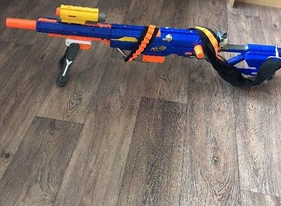 Nerf Longstrike CS-6 Sniper Rifle With Bipod, Bandolier Ammo Belt Night Sniper