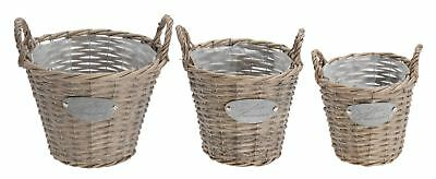 Set of 3 Les Saisons Woven Wicker Willow Basket Bucket Planter Pots With Handles