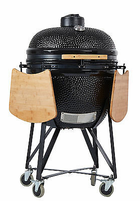 """YNNI 25"""" Black XL Kamado Oven BBQ Grill Egg with Tables and Stand TQ0025BL`"""
