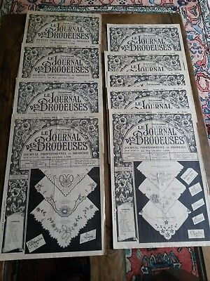 9 Anciens Journaux Le Journal Des Brodeuses 1956 Vintage Embroidery Patterns