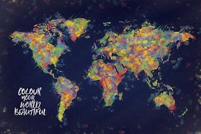 COLOUR YOUR WORLD MAP POSTER (61x91cm)  PICTURE PRINT NEW ART