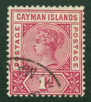 SG 2 Cayman Islands 1900 1d rose carmine. Very fine used part CDS